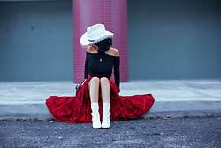 AMINTA ONLINE - Stylewe Top, Thrifted Skirt, Thrifted Hat - Cowgirl Hat !