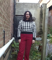 Selina M - Yesstyle Checked Cropped Jumper, Yesstyle Red Trousers - The next adventure is for us