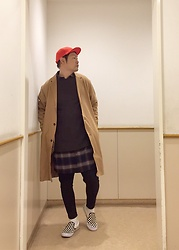 ★masaki★ - Larose Red Wool Cap, H&M Overcoat, Asos Dropcrotch, Vans 50th - Japanese trash style 61