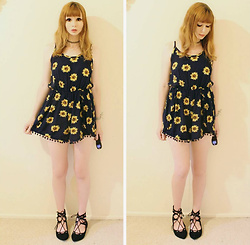 Rachel-Marie - Off Brand Tattoo Choker, Shein Navy Sunflower Print Pom Pom Trim Cami Romper, Off Brand Black Lace Up Flats - Sunny Day