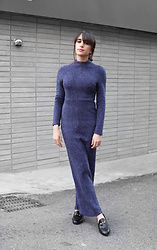 Samia Liamani - Navy Winter Dress - #SMK vegan and sustainable fashion