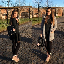 Lissey ♥ - Gamiss Cardigan, Cosmosmoda Dress, Zaful Backpack, Deichmann Boots - Grey autumn | Gamiss