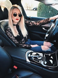 Laura Simon - Lipsy Black Lace Blouse, Urban Outfitters Blue Ripped Jeans, Ray Ban Gold Round - Lace and red lips