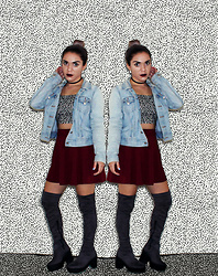SV - Levi's® Vintage Levi's Denim Jacket, American Apparel Television Static Print Bardot Crop Top, Forever 21 Maroon Skater Skirt, Asos Suded Over The Knee Boots - Too Cool For School