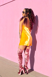 Nomadic Heels - Zara Dress, Dolls Kill Boots - Pink And Yellow