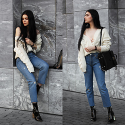CLAUDIA Holynights - Chic Wish Chunky Cable Knit Cardigan, Modatoi Silk And Lace Top, Vipme Backpack, Levi's® Vintage Jeans, Ego Boots, Daniel Wellington Classic Black Watch - Cable knit and jeans
