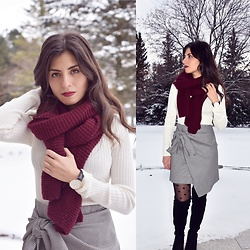 Karin Jurgens - Forever 21 Sweater, Zara Skirt, Zara Over The Knee Boots - HOUNDSTOOTH SKIRT