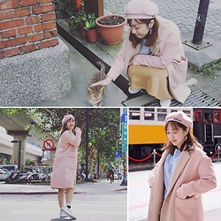 Lan Chi Vu - Asos Pink Coat, Spao Blue Sweater, Spao Yellow Skirt - Taipei, Taiwan