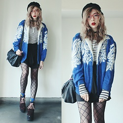 Candy Thorne - Thrifted Fluffy Cardi, H&M Stripe Tee, Shibuya 109 Leopard Platforms - Hipster Elsa
