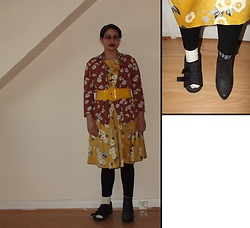 Selina M - New Look Glitter Boot, Lady Vintage Floral Hepburn Dress, New Look Floral Kimono, Vinted Yellow Belt - Don't stop me now, I'm having a ball