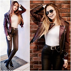Alina Feminudity - Asos Biker Jacket, Asos Leather Belt, H&M High Waisted Jeans, Asos Pointed Heels, Chanel Aviator Shades - Marsala Biker Jacket