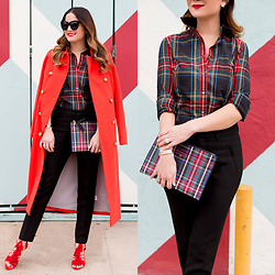 Jenn Lake - J. Crew Red Plaid Shirt, J. Crew Red Double Breasted Long Coat, J. Crew Red Plaid Clutch, Loeffler Randall Red Tassel Luz Sandals, Vince Camuto Black Skinny Pants, Quay Sugar And Spice Sunglasses - J. Crew Red Plaid Shirt
