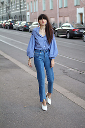 Paz Halabi Rodriguez - Zara Silver Earrings, Zaful Balloon Sleeves, H&M High Waisted Straight Jeans, Zara White Heeled Mules - Balloon Sleeves