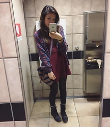 Gege Z - Thrifted Plaid Shirt, Forever 21 Dress, Thrifted Crossbody Bag, Thrifted Boots - Let me love you