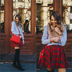 Julie P -  - Red plaid skirt - Christmas outfit