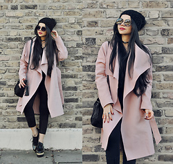 Clara Campelo - Choker, Coat, Shoes, Primark Cap, Sunnies, Bag - Black Pink