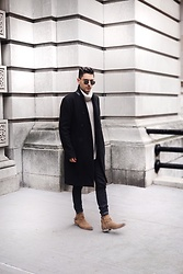 Phil Valles - Topman Boots, Allsaints Denim, Allsaints Coat, H&M Turtle Neck, Ray Ban Sunglasses - Polar Vortex