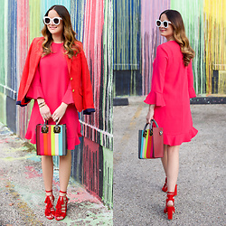 Jenn Lake - Sophie Hulme Rainbow Stripe Bag, Kate Spade Pink Ruffle Shift Dress, Loeffler Randall Red Tassel Sandals, Two Penny Blue Red Cambridge Blazer, Celine White Sunglasses - Sophie Hulme Rainbow Stripe Bag