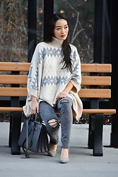 Kimberly Kong - Stitch Fix Poncho, Ysl Satchel - Showing Serious Poncho Love