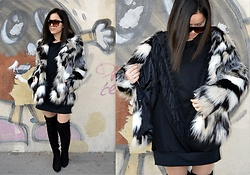Marija M. - H&M Faux Fur Jacket, Gamiss Over The Knee Boots, Romwe Sweatshirt Dress, Zaful Sunglasses - Fringes, pom poms, faux fur