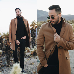 Reinaldo Irizarry - Inc International Concepts Camel Coat, Inc International Concepts Turtleneck - CAMEL IN THE DESERT