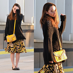 Carissa G. - Oryany Bag, Who What Wear Skirt, Rd Style Sweater - Black & Yellow