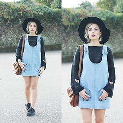 Cátia Gonçalves - Chicnova Denim Dress, Style Moi Sweater, Primark Black Hat, Jeffrey Campbell Shoes Platform Sneakers - I can survive I'll walk through fire to save my