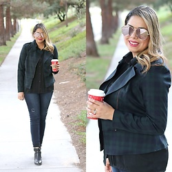 Paulina Mo - Cabi Tartan Jacket, Quay High Key - Plaid and Red Cup Season