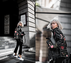 Jiawa Liu - Proenza Schouler Ps11 Mini Handbag (25% Off With Code 'Giftfwrd'), Lpa 58 Embroidered Leather Jacket (25% Off With Code 'Giftfwrd'), Derek Lam Cropped Flared Pants, Senso Sneakers - How to afford designer pieces