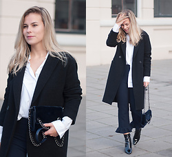 Jules V - H&M Coat, Zara Ruffle Trousers, Mango Patent Boots - Breaking the rules