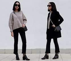 Esther L. - Missguided Masculine Coat, Gamiss Beige Sweater, Dresslily Bootcut Trousers, Missguided Pointed Ankle Boots, Giant Vintage Black Sunnies, Zara Chained Bag - THE WINTER LOOK