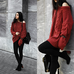 CLAUDIA Holynights - Shein Brick Red Sweater, Daniel Wellington Watch, Vipme Bag, Shuzee Boots - Brick