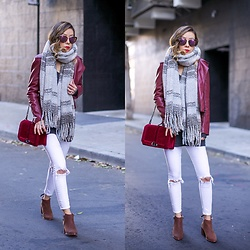 Sasa Zoe - Scarf, Jacket, Bag, Jeans, Boots, Sunglasses - CASUAL COOL