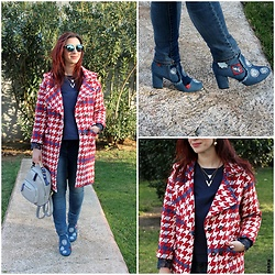 Rebel Takipte - Ami Club Wear Denim Booties, Newchic Gold Earrings, Twinkledeals Red Coat - Denim Booties