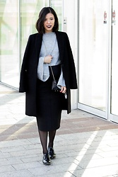 Vivian Tse - Zara Masculine Coat, Mango Flared Sleeve Sweater, Marks & Spencer Pencil Skirt, Manfield Leather Lacquer Brogues - Dressing the baby bump | viviantse.net