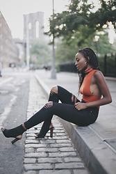 Nkenge Brown - Topshop Ripped Jeans, The Reformation Bodysuit, Public Desire Peep Toe Booties - Side to Side