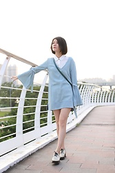Crystal Lin - One By Pfeiffer Denim Dress, Opening Ceremony Oxfords - Denim dress