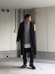 ★masaki★ - Komakino Black Coat, H&M Knit, Ch. Loosepants, Dr. Martens Made In England Toe Steel - Japanese trash style 64