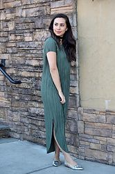 Melissa De Leon - Anthropologie Green Dress, J. Crew Silver Flats, Anarchy Street Velvet Choker, Kendra Scott Necklace - Evergreen