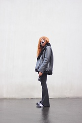 Diane K. - Zara Jacket, Boohoo Pants, Adidas Sandals, Choies Sunglasses - All black