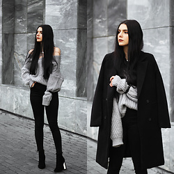 CLAUDIA Holynights - Romwe Coat, Romwe Chunky Knit Off Shoulder Sweater, 4th & Reckless Boots, Daniel Wellington Watch - Colorless