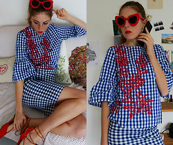 Laurielle Haze - Zaful Gingham Embroidered Blouse, Zaful Red Sunglasses - So Lo-lee-ta ! ♥
