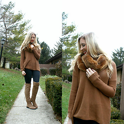 BG by Christina L - Topshop Faux Fur Scarf - Nutmeg