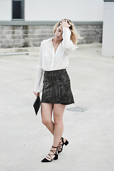 Madelene McGuinness - Livingstone Cooper White Shirt, Zara Detail Skirt, Zara Strap Heels - The White Shirt Re-Worked