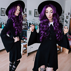 Kimi Peri - Killstar Omen Sigil Fedora Hat, Killstar Raven Claw Necklace, Killstar Hellda Knit Dress, Rogue + Wolf Black Matte Rings, Killstar Underworld Stockings, Choker, Purple Wig - Purple - The Passionate Sister of Black