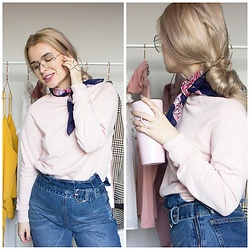 Andra Vaida - H&M Pink Sweatshirt, Lost Ink Wrap Waist Jeans, Asos Paisly Scarf - Happy