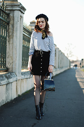 Andreea Birsan - Newsboy Cap, Vintage Scarf, Striped Top, Gingham Top, Real Suede Button Front Skirt, Vintage Bag, Leather Ankle Boots, Fishnet Tights - The 45 years old bag