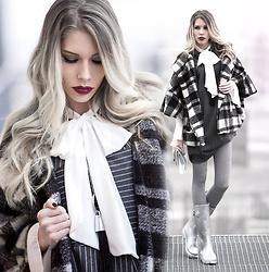 Dora D. - Black And White Checkered Wool Coat, White Shirt With Bow, Hand Painted Silver Rainboots - The cold definitely bothers me !!!