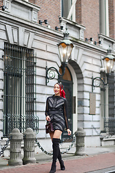 Virgit Canaz - Boohoo Black Dress, Little Mistress Over The Knee Boots, New Look Clutch - Boohoo Christmas Party