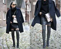 The Day Dreamings - Zara Coat, Zara Overknee Boots, Chloe Bag, Oasap Oversized Knit, Triwa Sunglasses, Zara Leather Skirt - Oveknees: lates obsession